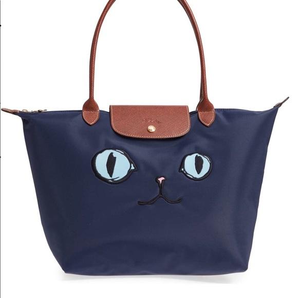 49b6c3715509 Longchamp MIAOU navy bag limited edition size L.